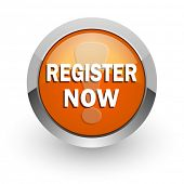 register now orange glossy web icon
