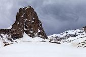 Snowy Rocks And Grey Sky
