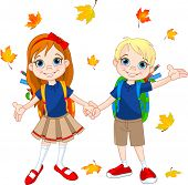 Boy and girl ready to school at autumn day. Raster version.