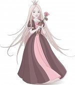 Illustration of beautiful princess holds a pink rose. Raster version.