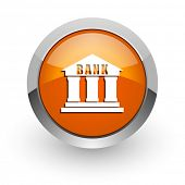 bank orange glossy web icon