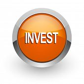 invest orange glossy web icon