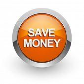 save money orange glossy web icon