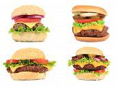 Set of various hamburgers.