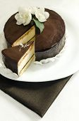 Souffle Cake With Chocolate Glaze On White Plate