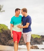 Young happy gay couple walking on the beach