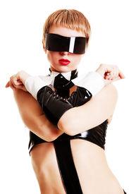 image of latex woman  - portrait of trendy woman in big sunglasses - JPG