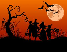 pic of vampire bat  - Halloween background with silhouettes of children trick or treating in Halloween costume - JPG