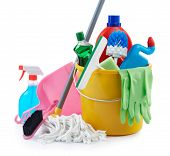 pic of cleaning agents  - group of assorted cleaning products on white background - JPG