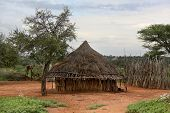 stock photo of ethiopia  - Houses of people from a tribe Hamer in Omo Rift Valley Ethiopia - JPG