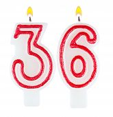 Birthday Candles Number Thirty Six Isolated