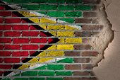Dark Brick Wall With Plaster - Guyana