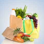 Paper bags with products on light grey background