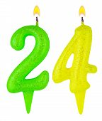 Birthday Candles Number Twenty Four Isolated