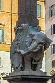 picture of obelisk  - Elephant and Obelisk is a sculpture designed by the Italian artist Gian Lorenzo Bernini Rome - JPG