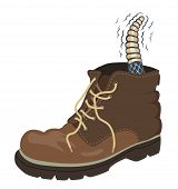 Editable vector illustration of a rattlesnake inside a walking boot