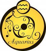 Stylized Zodiac Signs In A Yellow Circle - Aquarius.eps