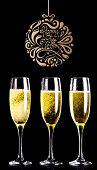 Elegant happy new year against three full glasses of champagne
