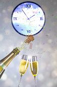 stock photo of champagne color  - Flying colours against champagne popping - JPG