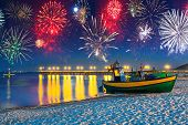 New Years firework display at Baltic Sea, Poland