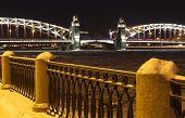 Sinopskaya embankment and bridge Bolsheokhtinsky evening. Saint Petersburg