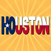 Houston flag text with sunburst illustration