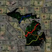 Michigan map with hex code and graphs on dollars illustration