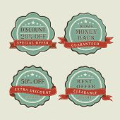 Vintage sale and discount offer label, tag or sticker with ribbon.