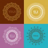 Yoga and Mandala background with round ornament. Hand drawn vector illustration