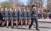 Women - cadets of police academy march on parade