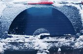 image of frozen  - Winter frozen back car window texture freezing ice glass background