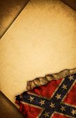 image of rebel flag  - Confederate Rebel Flag and old document papers - JPG