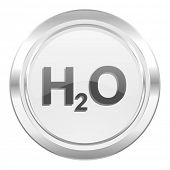 water metallic icon h2o sign