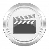 video metallic icon cinema sign