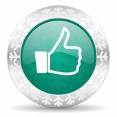 thumbs up green icon, christmas button, thumb up sign