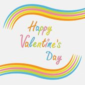 Rainbow Abstract Curve Frame Template. Flat Design. Happy Valentines Day Card