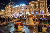 Moscow, Russia - December 24, 2014: Red Square At Night Decorated For New Year And Christmas Holiday