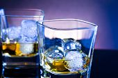Whiskey Glass On Light Tint Blue Disco