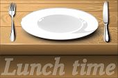 White Plate With Cutlery On A Wooden Dining Table. Lunch Time.