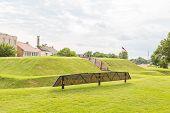 pic of revolutionary war  - A Revolutionary War memorial on an old grass bunker in Savannah Georgia - JPG