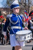 Drummer girl on Victory Day parade