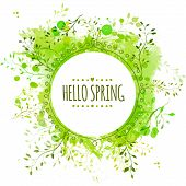 White doodle circle frame with text hello spring. Green paint splash background with leaves. Fresh v