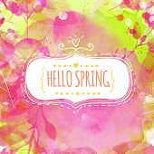 Doodle decorative frame with text hello spring. Nature inspired pink and green background with water