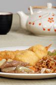 chinese food with tea set