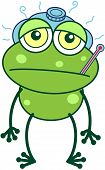 Green frog feeling sick