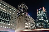 Night View Of Modern Skyscrapers In Canary Wharf