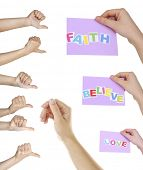 Hand collage, gestures set and hands with cards isolated on white