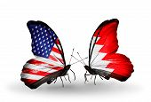 picture of bahrain  - Two butterflies with flags on wings as symbol of relations USA and Bahrain - JPG