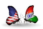 Two Butterflies With Flags On Wings As Symbol Of Relations Usa And India