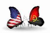 Two Butterflies With Flags On Wings As Symbol Of Relations Usa And Angola